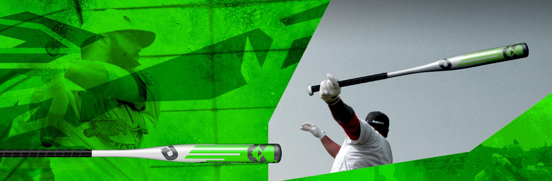 Green banner image with baseball player swinging